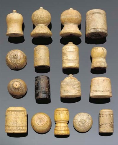 Seventeen ivory games pieces,