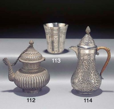 An Indian silver ewer, late 19