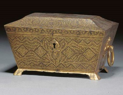 A Koftgari casket and hinged c