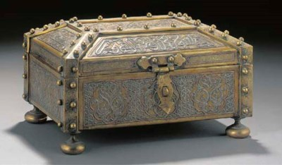 A large Cairoware casket and h