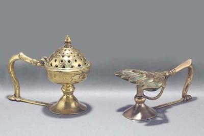An Indian brass incense burner