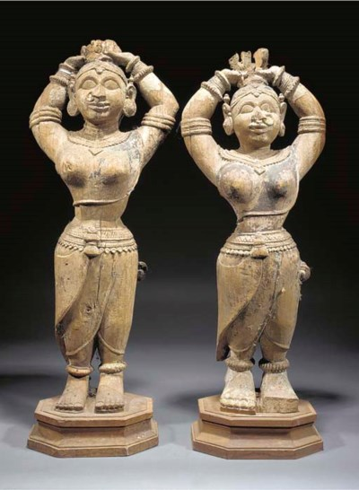 A pair of South-Indian wood ca