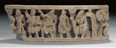 A Gandhara grey schist frieze,