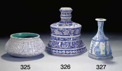 A Persian blue and white potte