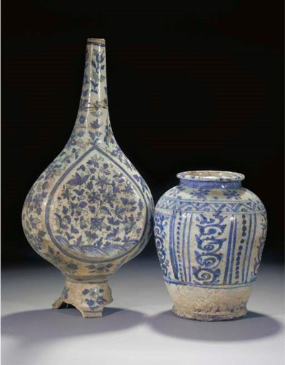 A Persian blue and white bottl