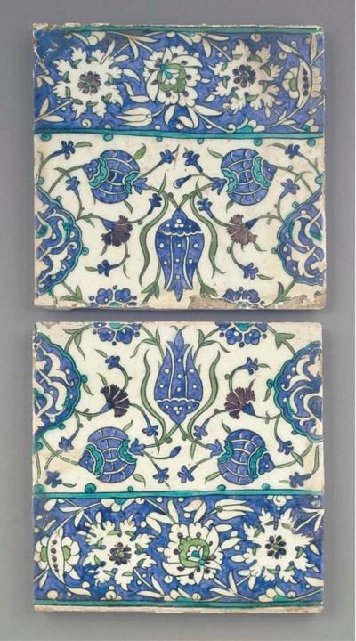 Two Damascus square pottery ti