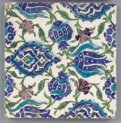 A Damascus square tile, 17th c