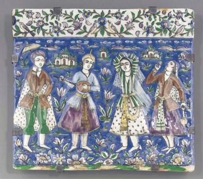 A Qajar polychrome tile, 19th