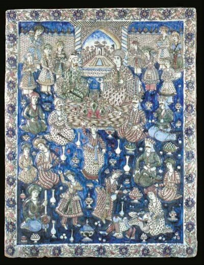 A large Qajar polychrome tile,