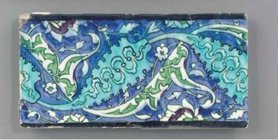 A Damascus border tile, 19th c