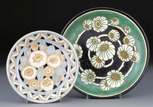 Two earthenware wall dishes