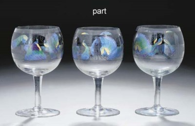 Six enamelled glass goblets