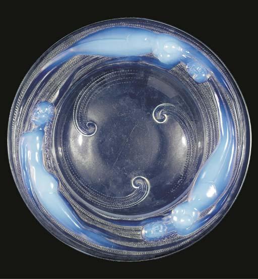 An opalescent glass bowl