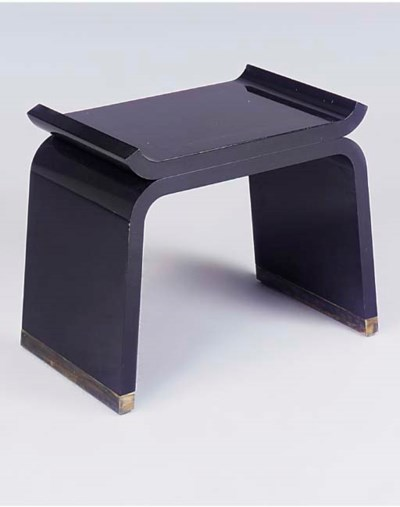 A BLACK-LACQUERED STOOL