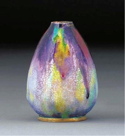 An enamelled metal vase