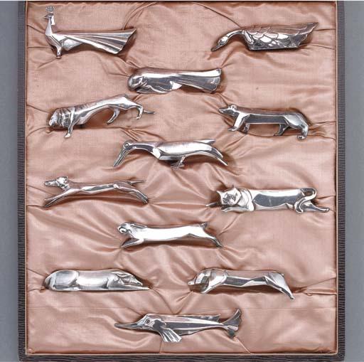 A set of twelve electroplated