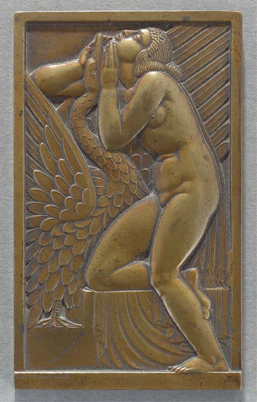 A patinated bronze plaque