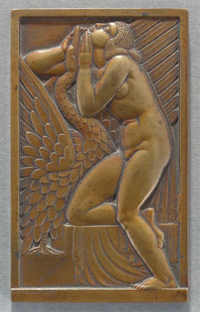 A patinated bronze plaque
