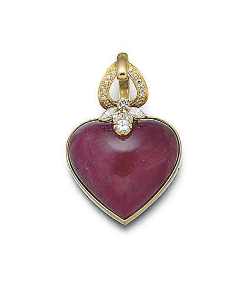 A heart shaped cabochon ruby a