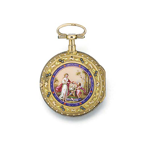 A gold and enamel repeating ve