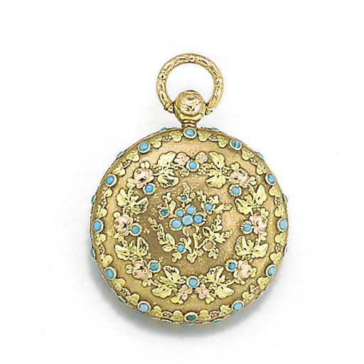 A vari-colour gold and turquoi