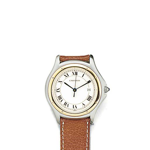 A Cartier steel and gold quart