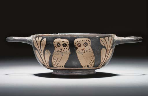A SOUTH ITALIAN RED-FIGURE STEMLESS KYLIX