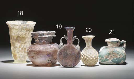 A ROMAN AUBERGINE GLASS 'PILGRIM' FLASK