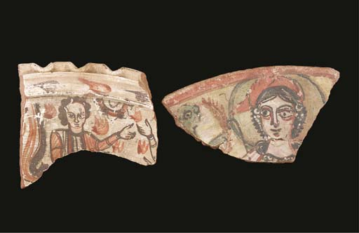 TWO COPTIC PAINTED POTTERY VESSEL FRAGMENTS