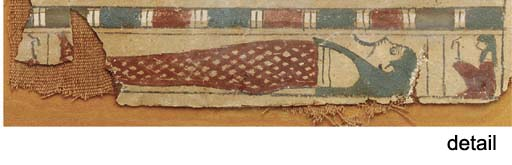 THREE EGYPTIAN GESSO-PAINTED C
