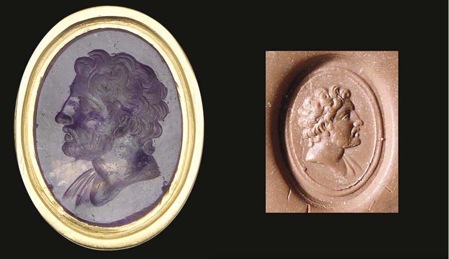 A FINE ROMAN AMETHYST INTAGLIO ENGRAVED WITH MALE PORTRAIT BUST