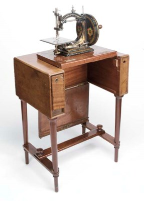 A rare travelling table sewing