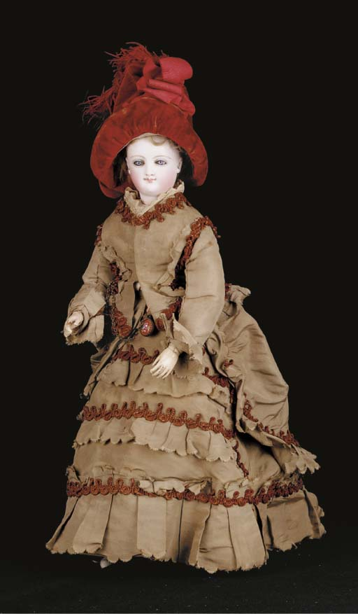 A pressed bisque smiling Bru fashionable doll