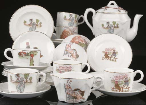 A dolls' Ridgways tea set after Kate Greenaway