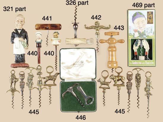 Twelve brass animal corkscrews