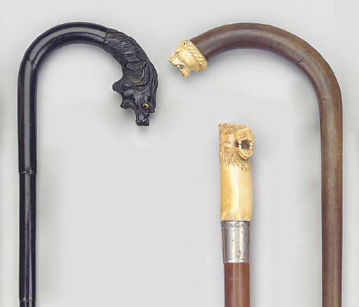 An ivory mounted walking stick