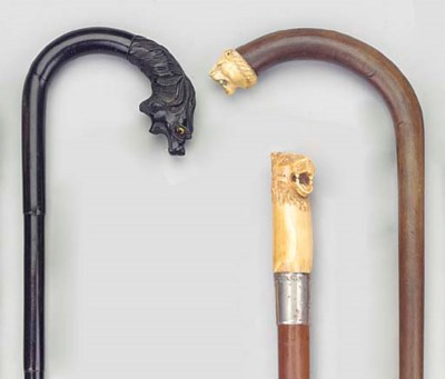 An ivory mounted walking stick
