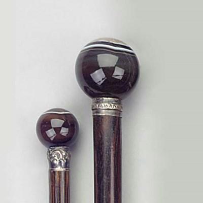An agate mounted hardwood cane