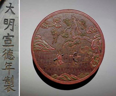 A late Ming red lacquer box an