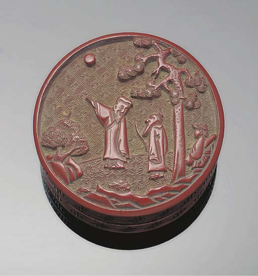 A cinnabar lacquer circular box and cover, 18th Century