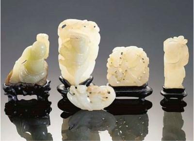 A group of five celadon jade c