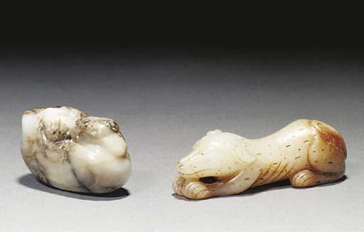 A celadon jade model of a dog,