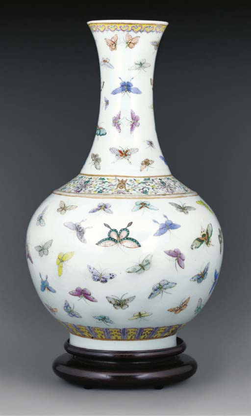 A Famille rose butterfly vase,