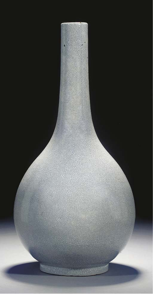 A large crackled glazed bottle