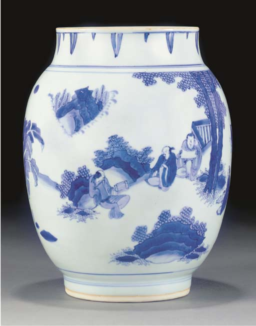 A blue and white ovoid jar, Transitional