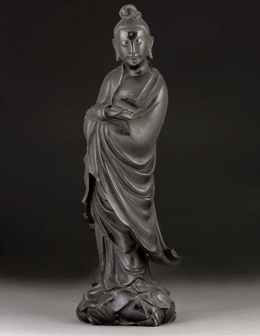 A bronze model of Guanyin, 17th century