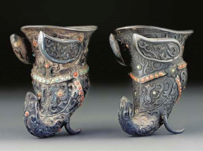 Two Mongolian embellished whit