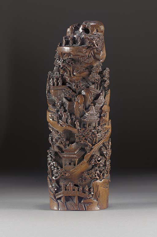 A lacquered bamboo mountain gr