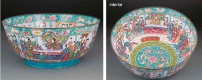 A large Canton enamel bowl, 19