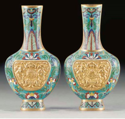 A pair of cloisonne enamel and
